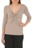 Bamboo Knot Fronted Top 3/4 Length Sleeve