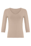 Organic Bamboo Jersey V Neck 3/4 Length Sleeve T-Shirt