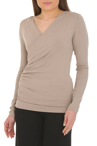 Bamboo Drape Wrap Top Long Sleeved