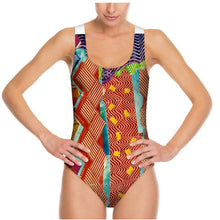 Load image into Gallery viewer, Swimsuit, bodysuit, dancewear--Zig Zag Tomato Collage