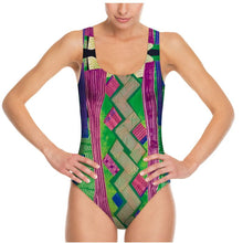 Load image into Gallery viewer, Swimsuit, bodysuit, Kiwi-plum collage
