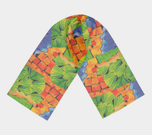 Load image into Gallery viewer, Citrus Punch Collage scarf--6 foot long or short, Poly or SILK, $26-$48