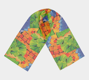 Citrus Punch Collage scarf--6 foot long or short, Poly or SILK, $26-$48