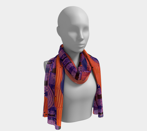 Cranberry Orange Collage scarf--6 foot long or short, Poly or SILK,$26-$48
