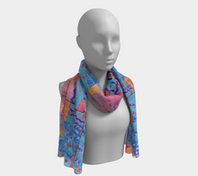 Load image into Gallery viewer, Mixed Berry Collage scarf--6 foot long or short, Poly or SILK, $26-$48