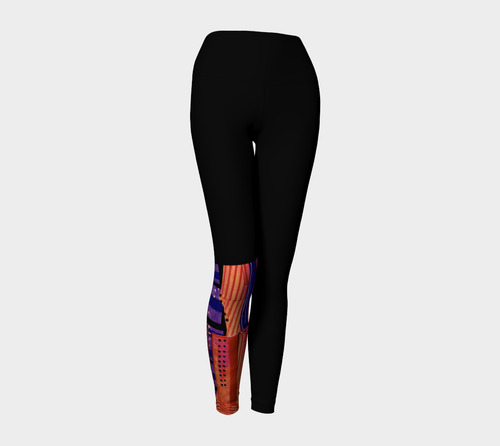 Yoga leggings, high waist-- Cranberry Orange half leg collage