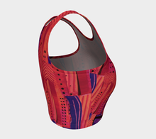 Load image into Gallery viewer, Athletic crop top--Cranberry Orange Collage