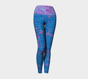 Yoga leggings, high waist--Blues Beautiful Collage