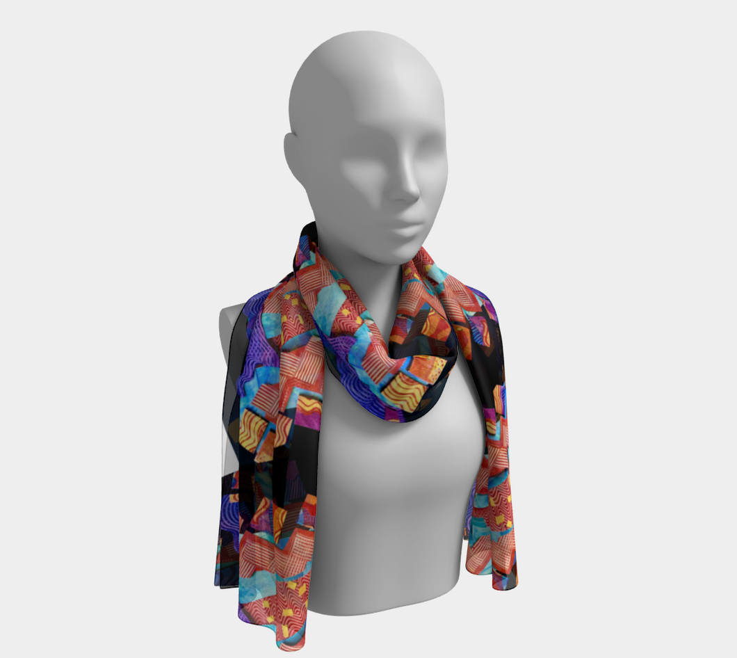 Zig Zag Tomato Collage #1 scarf--6 foot long or short, Poly or SILK, $26-$48