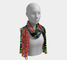 Load image into Gallery viewer, ZigZag Tomato Collage #2 scarf--6 foot long or short, Poly or SILK,$26-$48