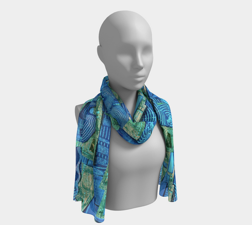 Seafoam Swirl Collage scarf--6 foot long or short, Poly or SILK, $26-$48