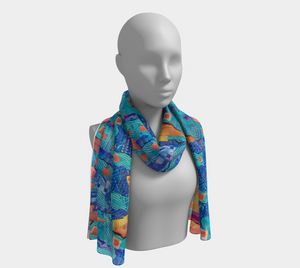 Blueberry Collage scarf--6 foot long or short, Poly or SILK, $26-$48