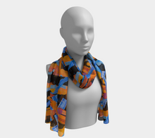 Load image into Gallery viewer, Confetti Collage  scarf--6 foot long or short ,Poly and SILK, $26-$48