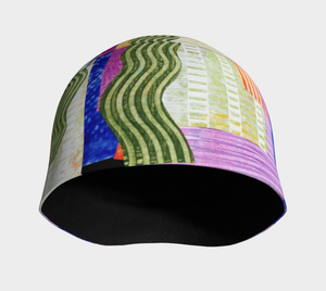 Beanie hat/cap-Violet Green Ripple Collage