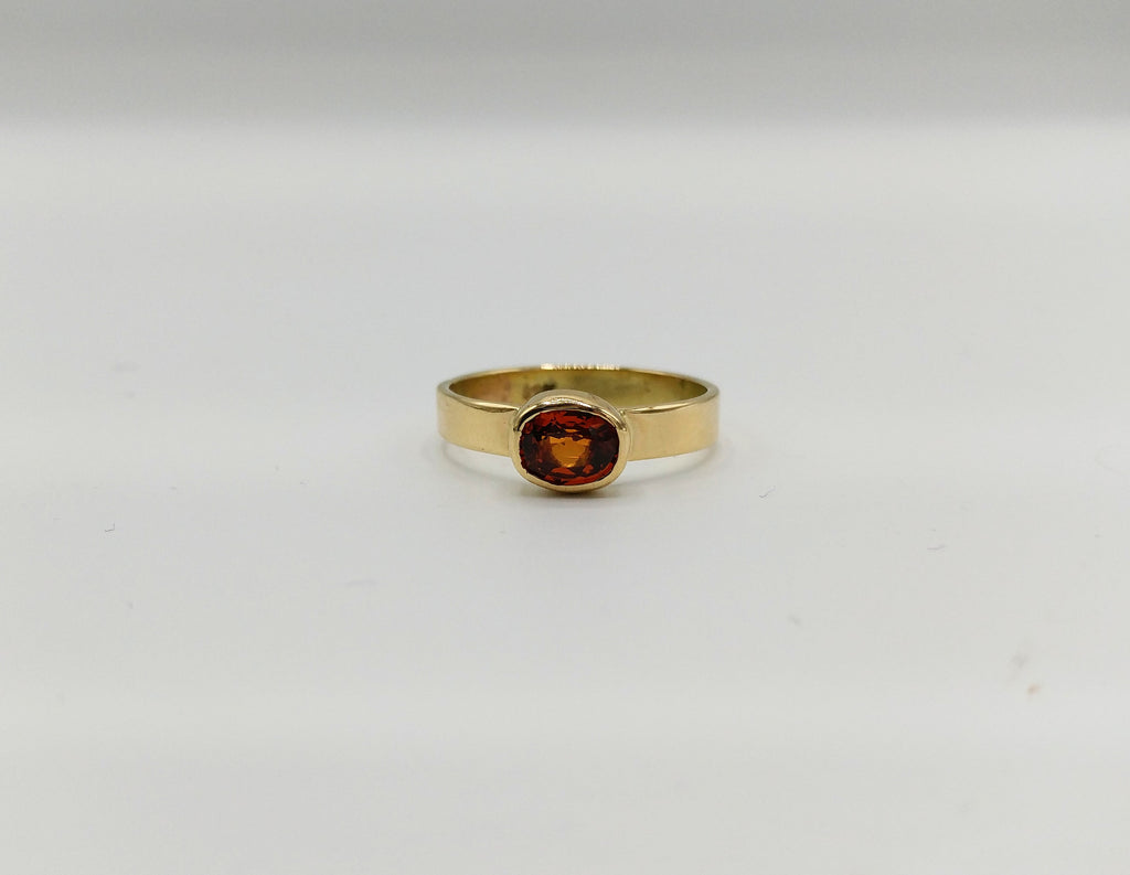Hessonite Garnet & 14k Gold Ring