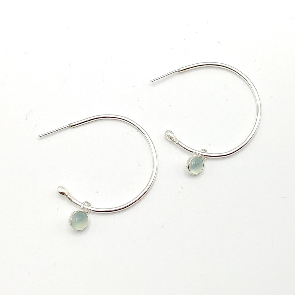 Thick Hoop Earrings with Gemstone