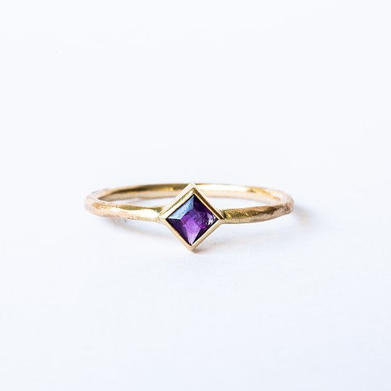 Square Amethyst Rough 14k Gold Ring
