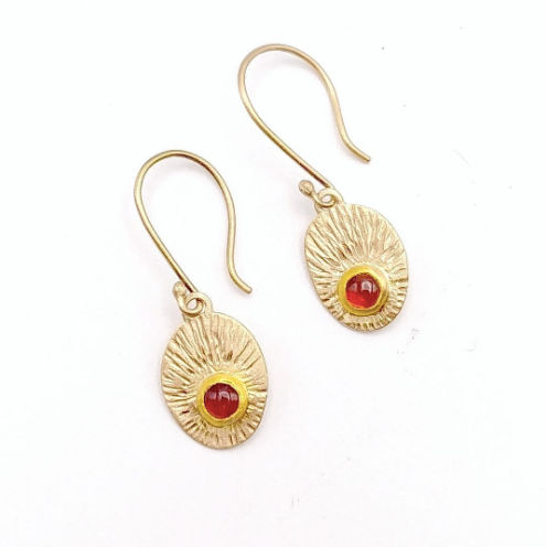 Hessonite Garnet and 14k/22k Gold Earrings