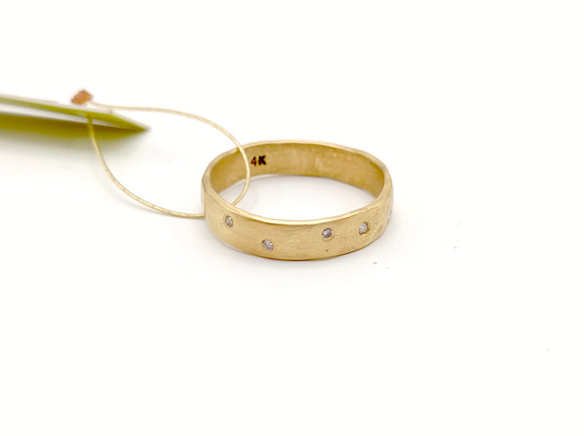 Five (1.25mm) Diamonds in 14k Gold Ring