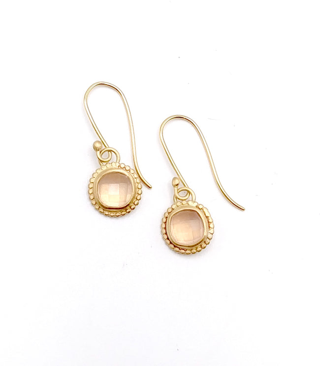 Rose Quartz and 14k Gold Earrings