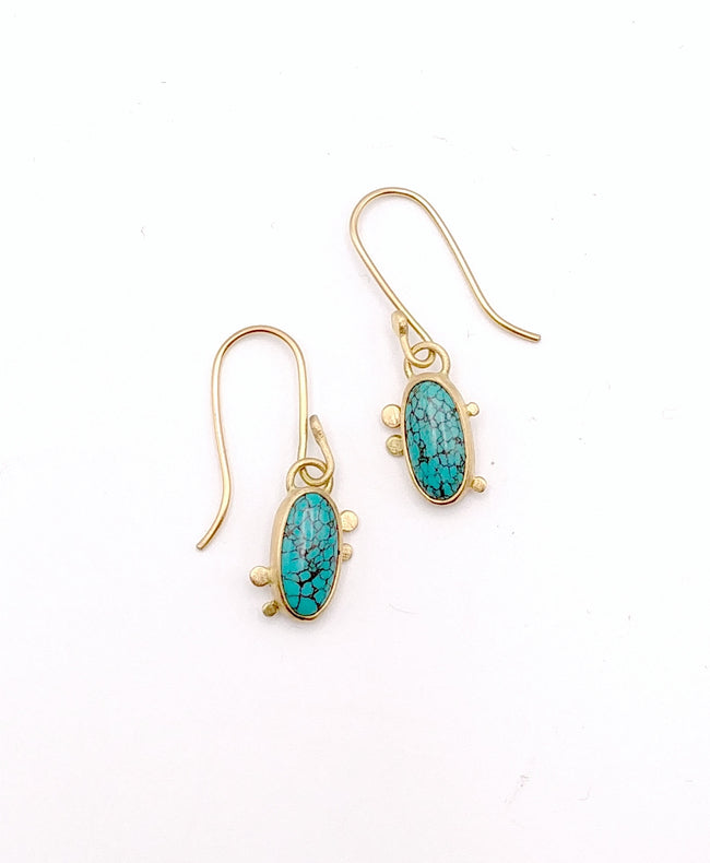 Turquoise and 14k Gold Earrings