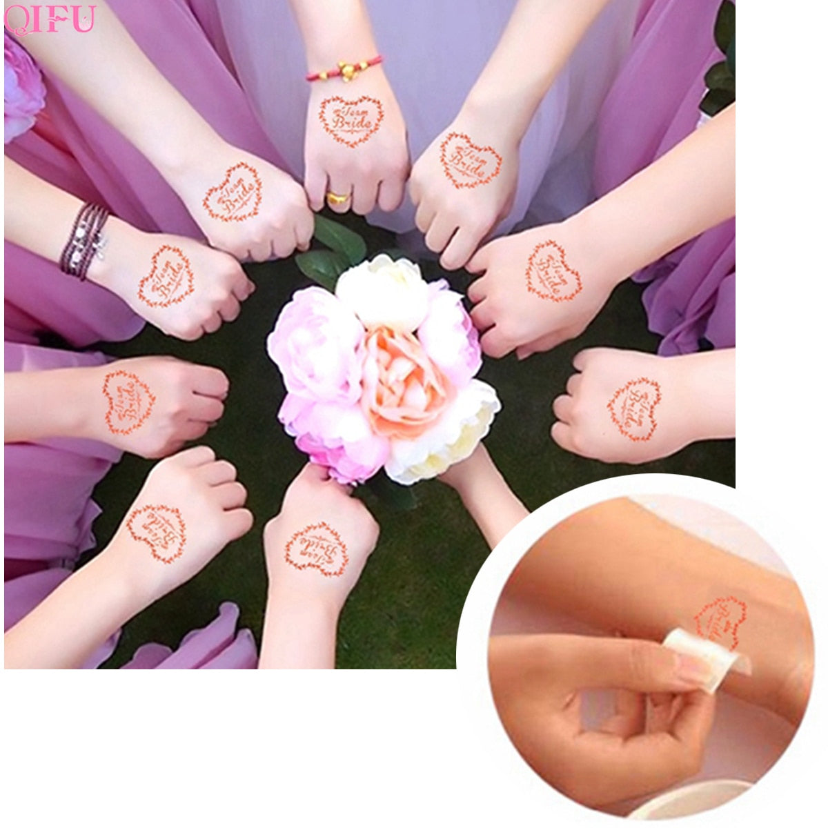 20 pcs Team Bride Temporary Tattoo Set for Photo Staging