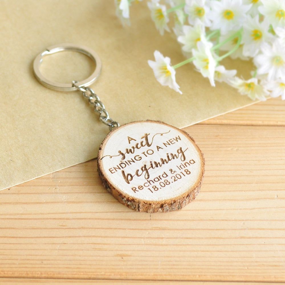 Personalized Wood Keychain Key Ring, Wedding Favors and Guest Gift