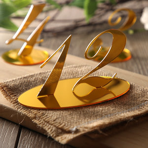 10pcs Wedding Reception Table Numbers decoration Gold Mirror Acrylic