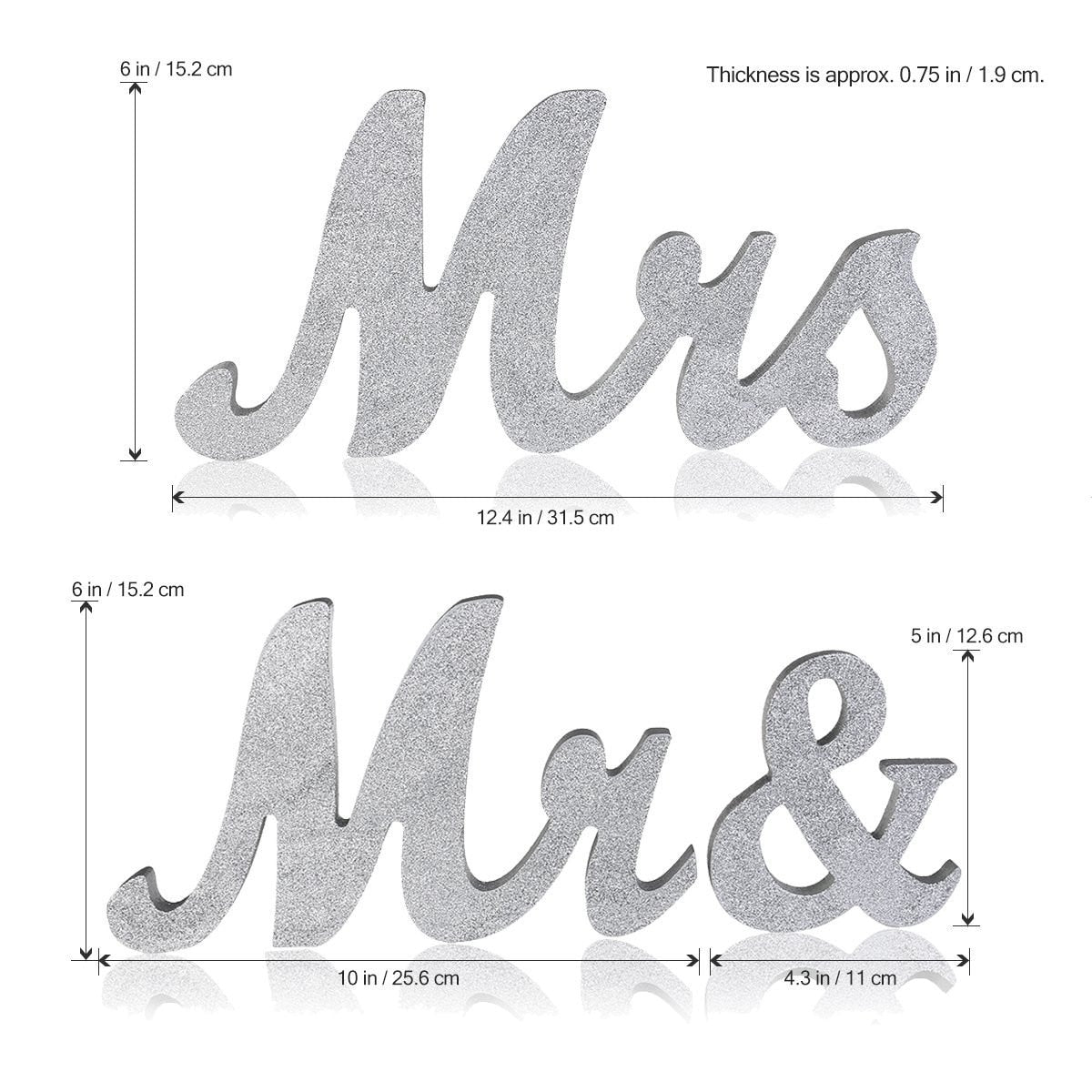 Sparkle MR & MRS Wood Letters Wedding Table Decoration