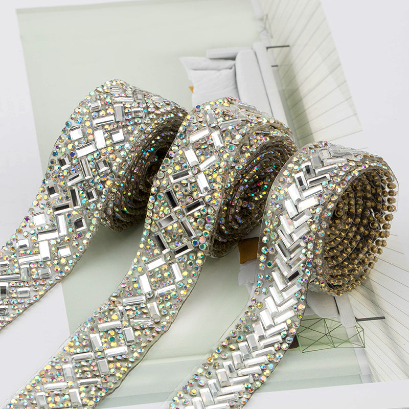 1 Yard Bedazzle Anything Iron-on Crystal Glass Rhinestone Trim Tape DIY wedding decoration