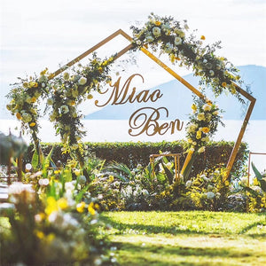 Pentagon Geometry Iron Arch DIY Wedding scene layout props (Includes Name Background)