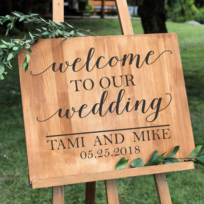 Personalized Wedding Vinyl Sticker Welcome Sign Names And Date Decal