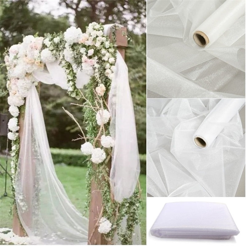 10 Meter X 48CM Mariage Yarn Tulle Roll Sheer Crystal Organza Fabric for Wedding Decoration