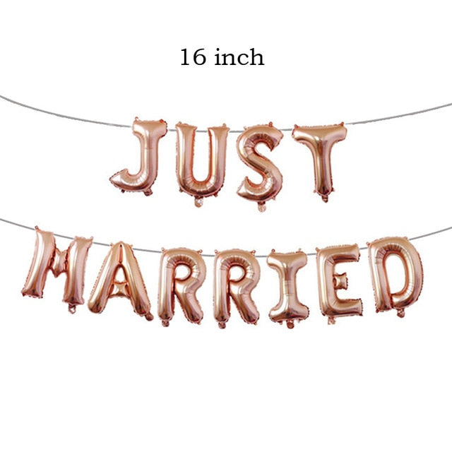 String Balloon Just Married Banner (Do Not Need Helium, Air Pump Sold separately)