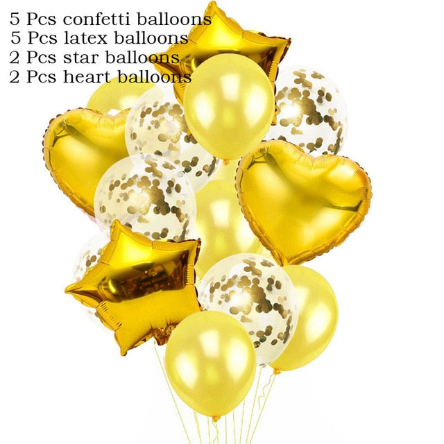 14 Pcs/Set Heart and Star plus Confetti Wedding Balloon Sets