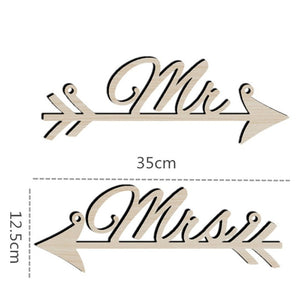 1Pair Mr & Mrs Arrow Signs Wedding Party Chair Decoration