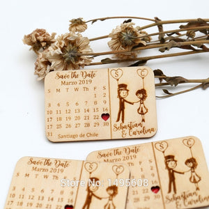 Customized Wedding Guest Save the Date Wood Refrigerator Magnets