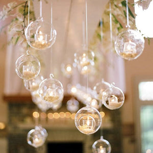 Crystal Glass Hanging Tealight Candle Holder Romantic Wedding Dinner Decor