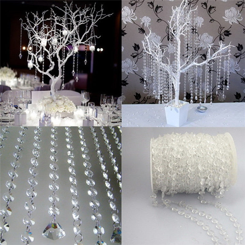 1 Roll 10M String Acrylic Crystal DIY Wedding Decoration