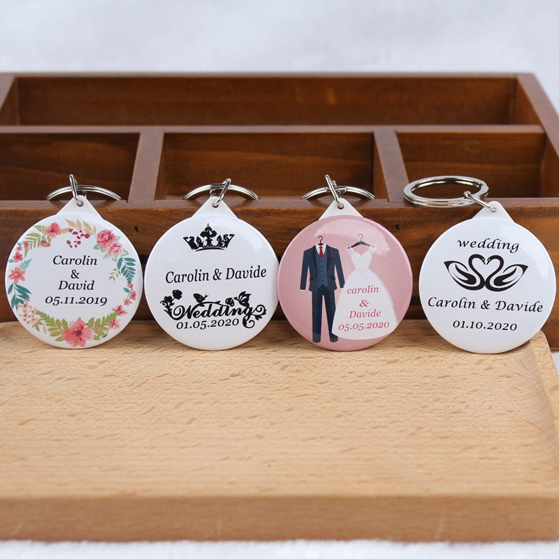 50pcs Personalized Mirror Compact Keychain Guest Favors and Gifts