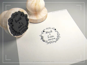 Personalized 4.5cm Name and Date Custom wooden stamp for Invitations, Thank Yous