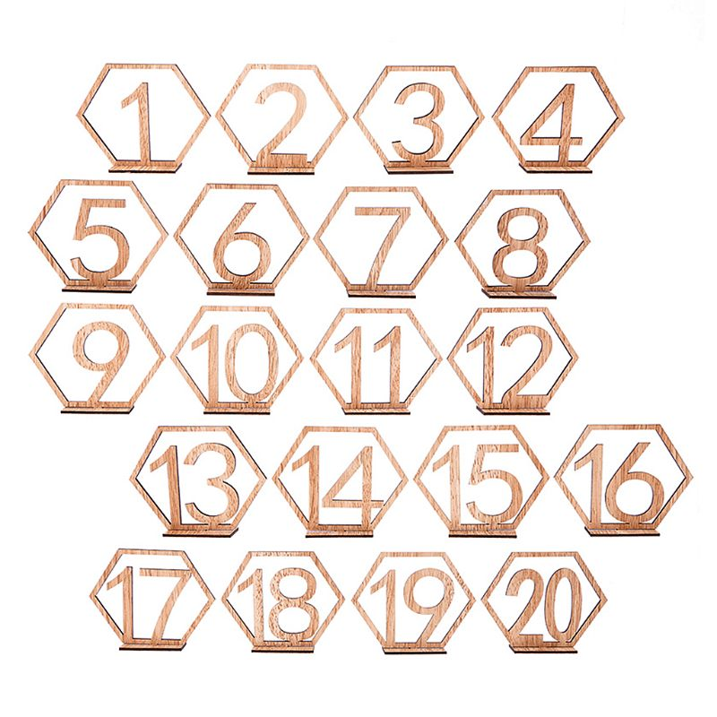 10pc 1-10/11-20 Number Wooden Table Numbers Set with Base for Reception Table