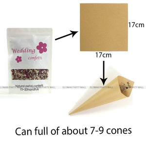 natural Kraft customizable to the names of the bride and groom Cornet for confetti wedding church outing Rose and satin link