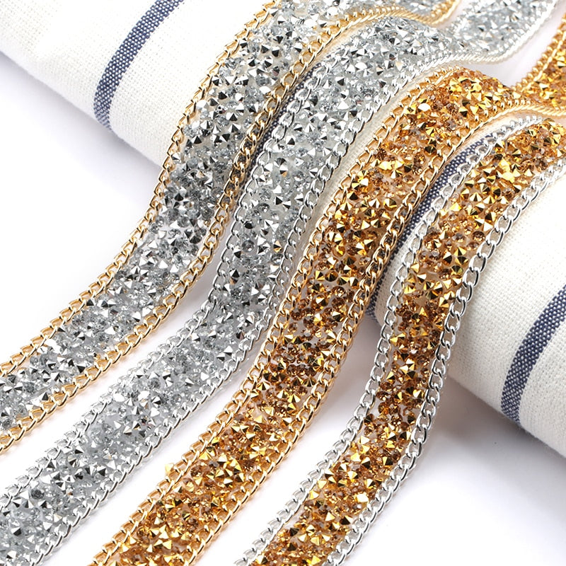 1 yard Bedazzle Anything Iron-on Gold/Silver Rhinestone with chain Trim