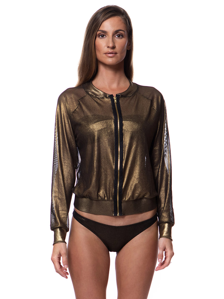 Metallic Bronze Bomber Jacket