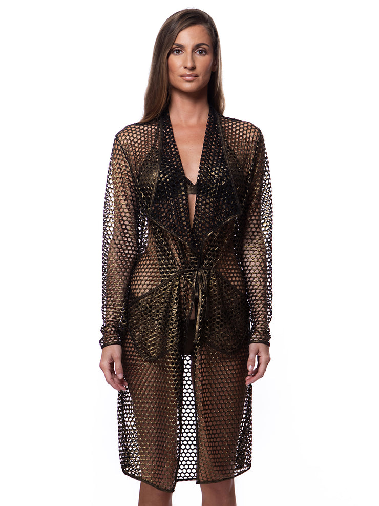 Resort Fishnet Metallic Bronze Cover Up