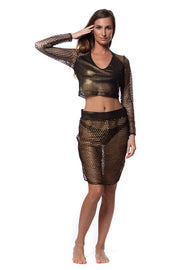 Go Fish Side Slit Metallic Pewter Skirt