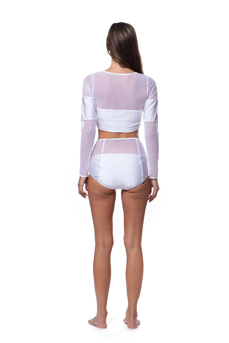 Don't Mesh with Me Long Sleeve Crop Top