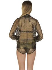 Go Fish Fishnet Metallic Bronze Bomber Jacket
