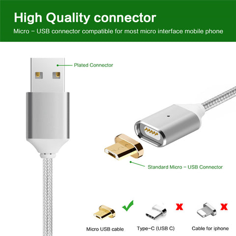 Magnetic Nylon Braided Micro USB Fast Charging Cable